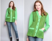 1970's Green Leather Cardigan / Suede Shirt Jacket / Large