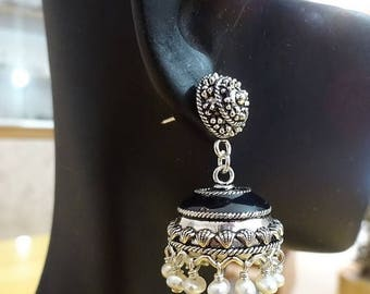 ON SALE South Indian Jhumkas-J325 - Black Enamel and Silver Jhumkas with Fresh water Pearls
