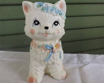 Vintage Porcelain Kitten  Planter