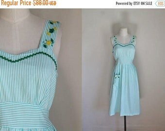 20% off SALE vintage 1940s dress - MINT striped pinafore sundress / S