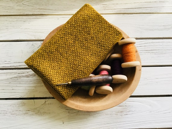 """Hand Felted, Mill Dyed Wool, """"HONEY BEE"""" Wool Rug Hooking,Wool Applique, Penny Rugs, Textile Arts"""