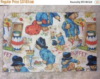 SUMMER SALE Vintage 1970s Paddington Bear Single Standard Size Pillowcase Retro Rare Htf English Linens