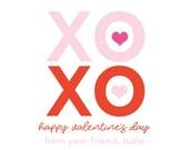 XOXO Sticker, Valentine's sticker, Square Stickers, Personalized Stickers, Custom Stickers, Name Stickers, holiday stickers