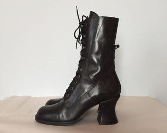 Victorian inspired lace up boots / tall skinny leather boots / black leather hook laced antiqued heel boots / 8