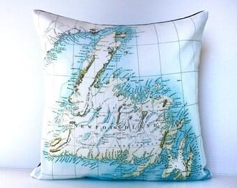 SALE SALE SALE Map pillow, decorative pillow, throw cushion , 16 x16 cushion cover, pillow cover, 40cm cushion cover, Newfoundland