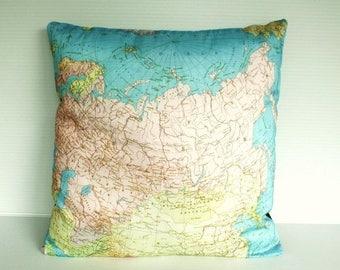 SALE SALE SALE Cushion cover pillow Russia Organic cotton cushion cover, map pillow of Russian Federation, map cushion, 16 inch 41cm