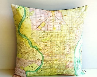 SALE SALE SALE Pillow cover, cushion cover Philadelphia map organic cotton, cushion, pillow, map cushion 16 inch