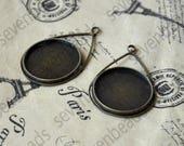 8pcs Antique bronze drop pendant,round pendant base (Cabochon size 20 mm), Round Cabochon, Pendant Base Cabochon