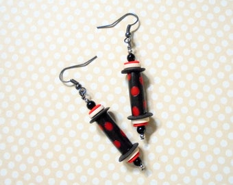 Black, White and Red Spotted Ethnic Boho Earrings (3721)