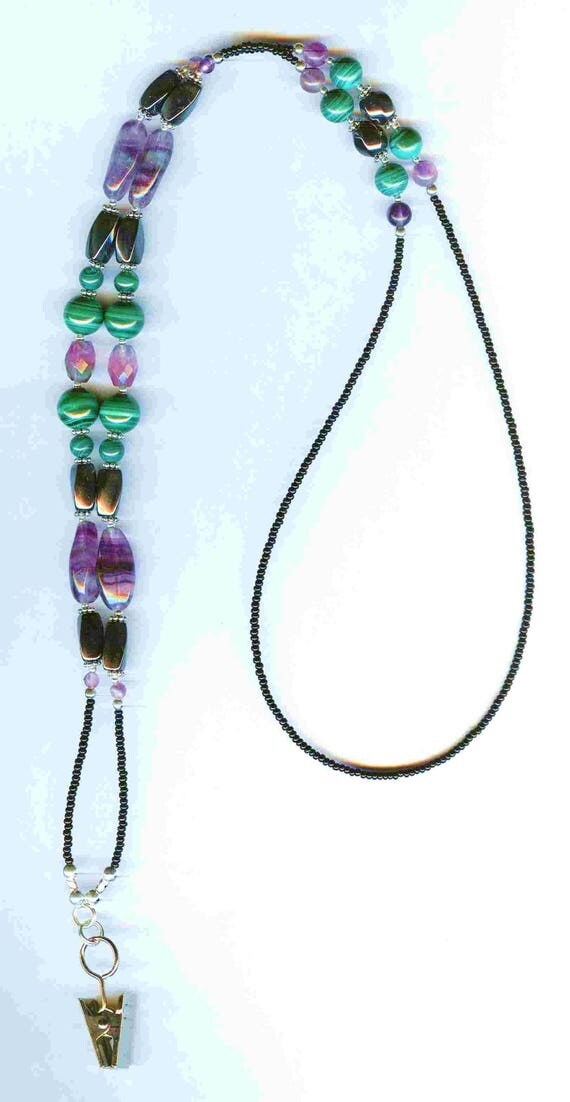 Malachite, Rainbow Flourite & Hematite Genuine Gemstone Beaded  ID Badge Lanyard or Eyeglass Chain 2