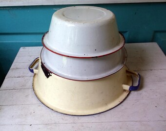 Set of 3 vintage enamel pans all Rusty Crusty and Beautiful Largest has blue trim and handles others are red and white