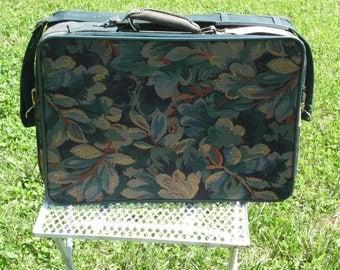 Diane Von Furstenberg vintage suitcase floral tapestry suitcase for overnight travel 20 x 14 x 5 1/2 with shoulder strap