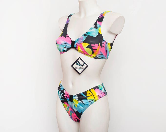 hight cut 90s bikini NOS Vintage multicolor