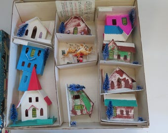 Putz Cardboard Christmas Village with Original Box Excellent condition 9 pieces with figurines