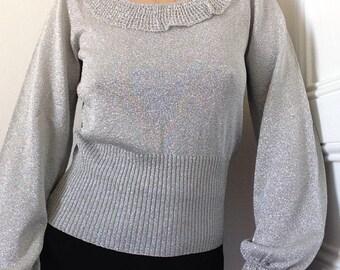 des années 1970 argent de Français fait 30 s pull de boiteux chemisier tricot lurex sz S volants manches poète