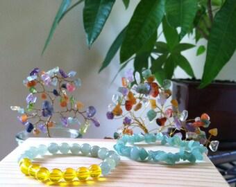 "Handmade Citrine Green Aventurine Gemstone Bracelet Pair, Yellow Citrine Gemstone Stretch Bracelet, Money Prosperity 6.75"" Stretch Bracelet"