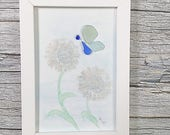 Sea Glass Butterfly and Flower Framed Wall Decor