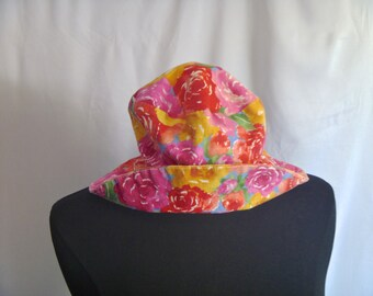 Vintage 90's Bright Summer Floral Floppy Fold-over Brim Hat