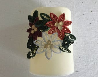 Quilled Poinsettia Candle