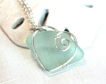 Silver Sea Glass Heart Aqua Blue Necklace Beach Glass Pendant Valentine Love