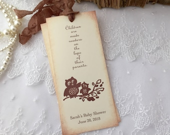 Owl Bookmarks Baby Shower Favors Neutral Set of 10