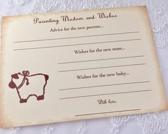 Parenting Advice Cards Baby Shower Activity Game Cards Baby Wishes Lamb Set of 10