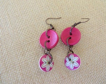 Hot Pink And Painted Flower Wood Button Dangling Earrings