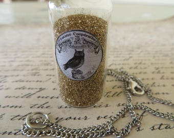 Apothecary Jar Of Woodland Dust With Owl Charm Necklace