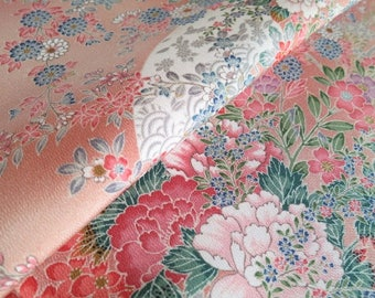 Japanese pure silk from Kyoto Pale pink Floral pattern
