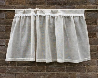 Natural Sheer Linen Lace Cafe Curtain, Shabby Chic, Beige Window Curtain, Gathered French Kitchen Curtain, Farmhouse Cottage Decor