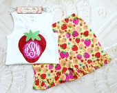 Strawberry Outfit, Vinyl Monogram Shirt, Strawberry Ruffle Shorts, Monogram Outfit, Toddler Girls Outfit, Summer Outfit