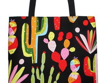 Folk Art Cactus Tote Bag, Nopales Cacti Large Carryall Book Bag - Ready to Ship
