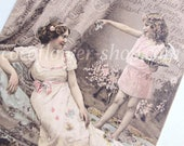 Vintage Mother day card, Mother and daughter, Love Mum gifts