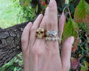 Antique Victorian Fraternal Memento Mori Skull Ring, A Talisman for the Alchemist, offered by RusticGypsyCreations