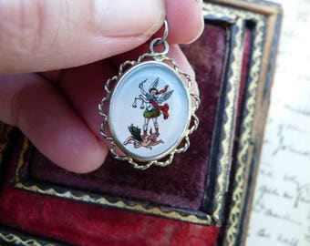Antique French Saint Michael Reliquary, Miniature Talisman for the Passionate, offered by RusticGypsyCreations