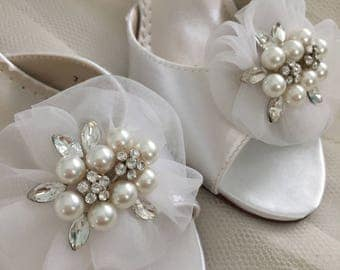 Wedding Shoes - Pearl Wedding Shoe Clips - Pearl & Crystal Wedding Shoe Clips - Wedding Shoe Clips - Removable Shoe Clips -Pearl Shoe Clips