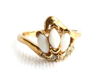 Vintage Art Deco Gold and Marquise Faux Opal Cocktail Ring - Rhinestones - October Birthstone - Size 8 - Signed UNCAS