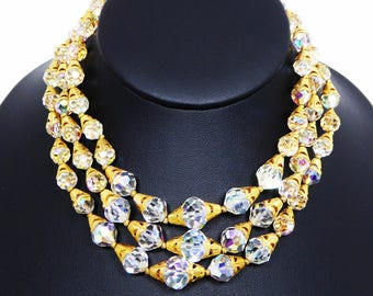 Multi Strand Crystal Bead Necklace Signed Deauville - Gold Tone Cone End Caps - Vintage 1950s Triple Strand Clear Crystal Glass Round Beads