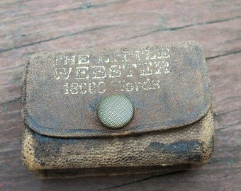 Vintage Antique Miniature Little Webster Dictionary Leather Cover 18000 Words