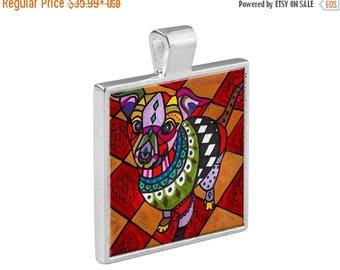 55% Off Today- Chihuahua Dog Folk Art Jewelry - Pendant Metal  Gift Art Heather Galler Gift-  Dog Lovers Abstract Modern Vegan Gifts