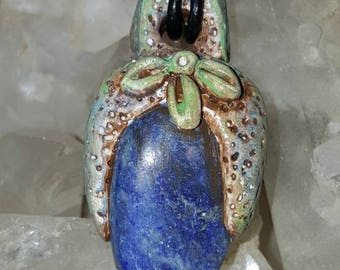 Spirit Totem Hand sculpted and set with Lapis Lazuli  Necklace Pendant One Of A Kind