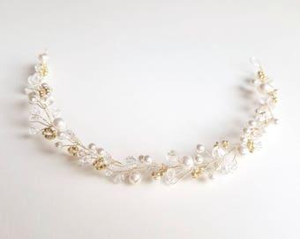Pearl and Crystal Hair Vine, Bridal Headpiece, Gold Vine Hair Accessory, Wedding Hair Piece, Boho Wedding Hair, Bridal Crown, Tiara