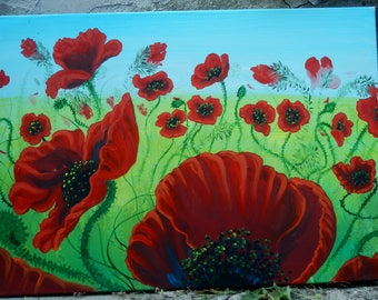 """Art Original Painting Abstract  """"  Poppies """""""