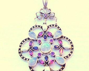 Moonstone, Pearls, Amethyst, Blue Sapphires, Vintage Sterling Silver, Vintage Nicky Butler, Gothic Pendent