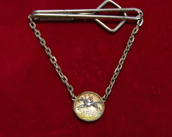 Swank Mens Equestrian Tie Bar, Reverse Painted Intaglio, Jumping Horse and Rider, Mid Century Jewelry, English Hunter Jewellery 1116