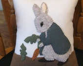 RESERVED FOR LISE  Vintage Style Peter Rabbit Wool Applique Pillow  Hand Made Spring