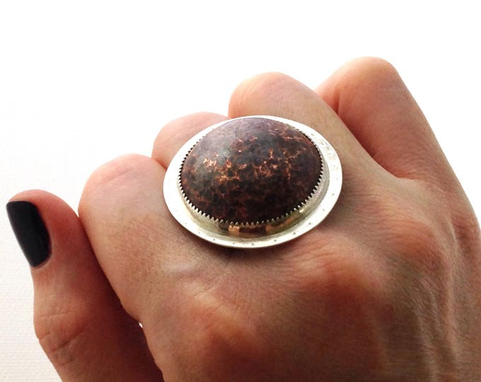 Featured listing image: Hammered copper and silver ring, handmade