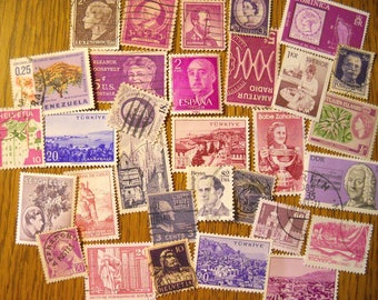 30 PURPLE Used World Postage Stamps for crafting, collage, cards, altered art, scrapbooks, decoupage, history, collecting, philately 11b