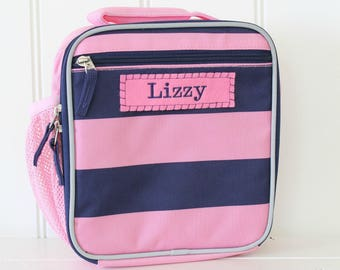 Girl's Lunch Box With Monogram Upcycled Pottery Barn (Fairfax) -- Pink/Navy Rugby Stripe