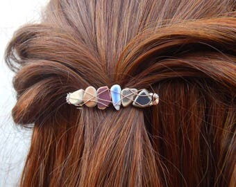 Earthy Colors Beach Pottery Barrettes Sea Glass Clips Beachy Hair Accessories Ocean Lovers Gifts for Her Wire Wrapped Hairclips Hippie Style